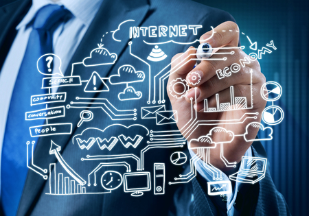 web marketing: Close view of businessman drawing on screen plan for successful business Stock Photo