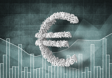 dynamic growth: Big euro currency symbol on graphs and diagrams background, 3D rendering Stock Photo