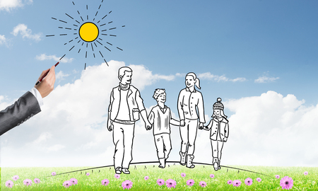 mom and son: Hand drawn happy family in casual clothes with two children