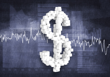 dynamic growth: Big dollar currency symbol on graphs and diagrams background, 3d rendering Stock Photo