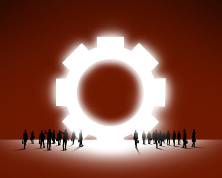 large group of business people: Large group of business people and big gears sign Stock Photo