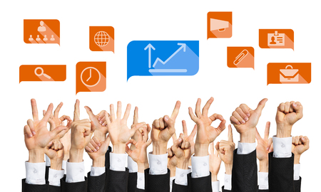 many hands: Many hands of businesspeople showing different gestures isolated on white