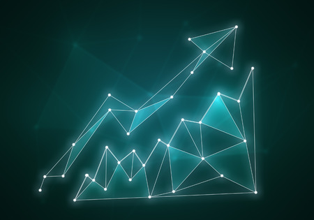 minimalistic: Minimalistic color styled growing graph on dark background