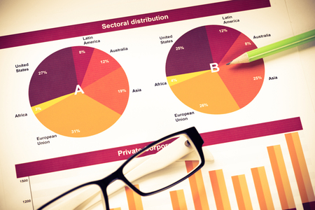 everyday jobs: Charts and graphs of sales as symbol of successful corporate business
