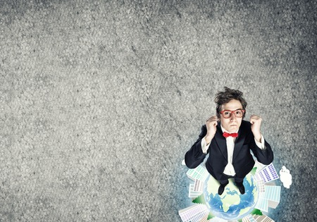 yeah: Top view of funny businessman in red glasses celebrating success. Elements of this image are furnished by NASA Stock Photo