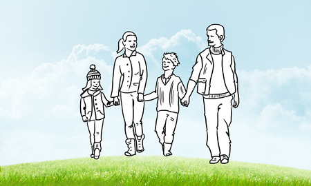 two children: Hand drawn happy family in casual clothes with two children