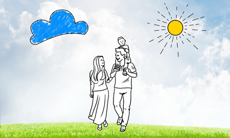 Hand drawn young happy family in casual clothes with child Stock Photo