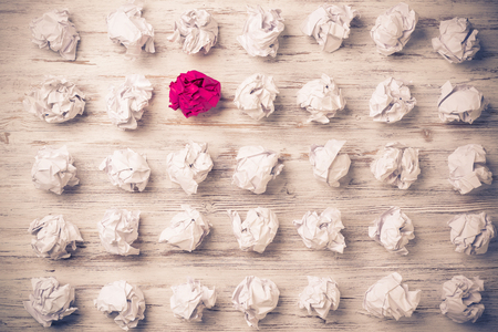 rumple: Set of crumpled paper balls with one colorful Stock Photo