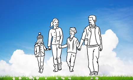 man made: Hand drawn happy family in casual clothes with two children