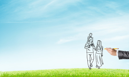 Hand drawn happy family in casual clothes with child Stock Photo