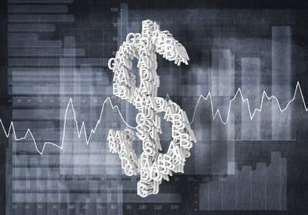 currency symbol: Big dollar currency symbol on graphs and diagrams background, 3D rendering Stock Photo