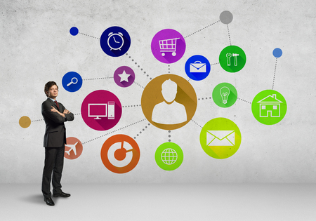 web application: Businessman and color application icons at background