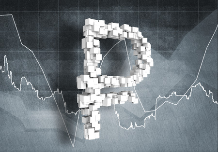rouble: Big rouble currency symbol on graphs and diagrams background, 3D rendering