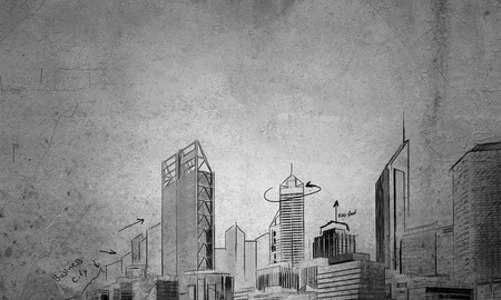 drawing room: Architecture concept with city drawing over concrete room background