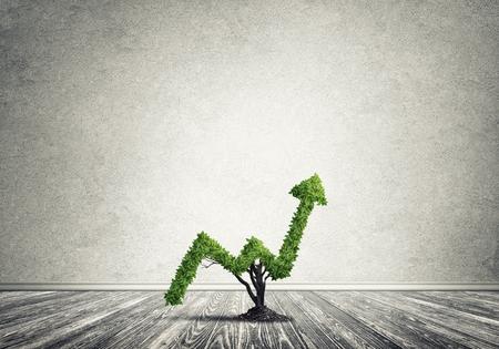 市場の成長と矢印の形に生えている緑の木として成功