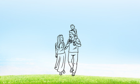 man made: Hand drawn young happy family in casual clothes with child Stock Photo