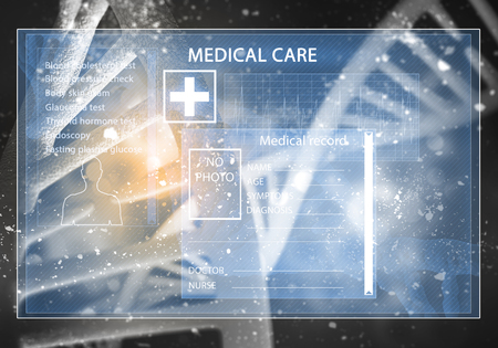 dna graph: Media medicine background image as DNA research concept, 3D rendering