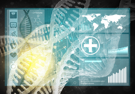 dna graph: medicine background image as DNA research concept, 3D rendering Stock Photo