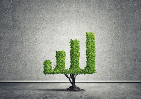profiting: Market growth and success as growing green tree in shape of graph Stock Photo