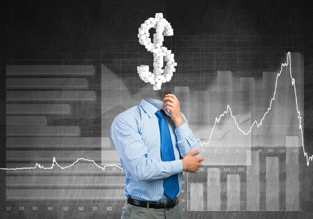 Faceless businessman with dollar sign instead of head Stock Photo