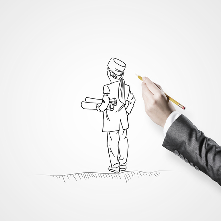 trainee: Hand drawing with pencil doctor on white background