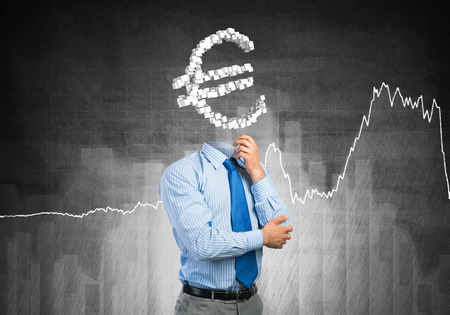 manpower: Faceless businessman with euro sign instead of head