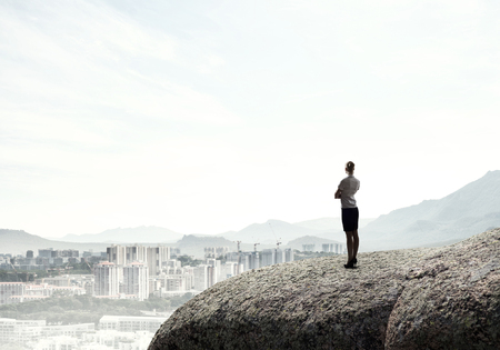 marketanalyze: Businesswoman standing with back on top of hill and viewing modern city