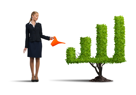 diagrama de arbol: Young attractive businesswoman watering plant in pot with can on white background
