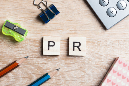 public relation: Public Relation collected of scrabble game elements Stock Photo