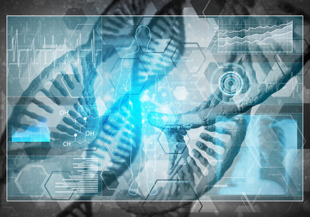 dna graph: Background image with DNA molecule research concept, 3D rendering