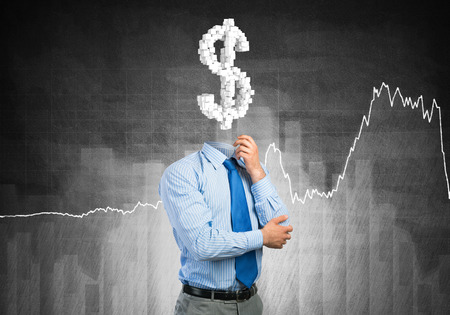 manpower: Faceless businessman with dollar sign instead of head Stock Photo