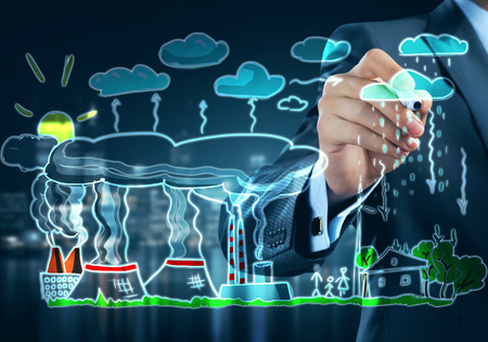 ecological problem: Close view of businessman drawing ecology concept on screen Stock Photo