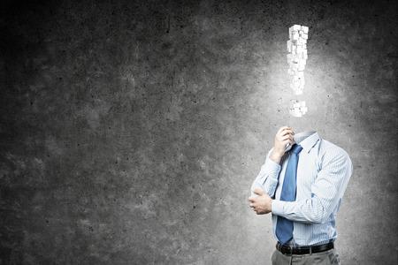 powerless: Pensive headless businessman