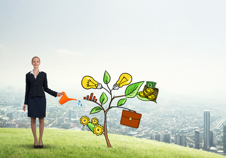 diagrama de arbol: Young businesswoman outdoors watering drawn growth concept with can