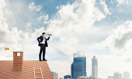 suburbian: Mister boss on brick roof in search of something new. Mixed medi Stock Photo