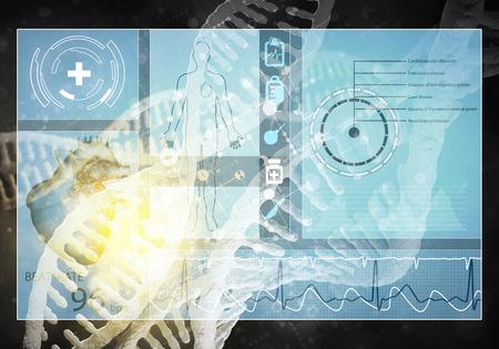 dna graph: Medicine user interface, 3D rendering