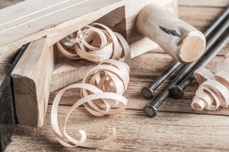 planer: Wooden planer and filings Stock Photo