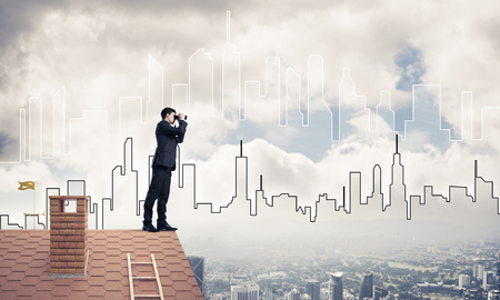 suburbian: Businessman standing on roof and looking in binoculars. Mixed me