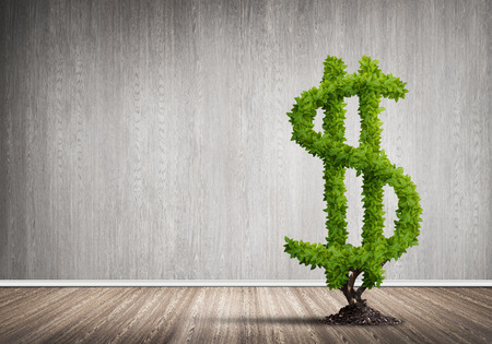 Market growth and success as growing green tree in shape of dollar Reklamní fotografie