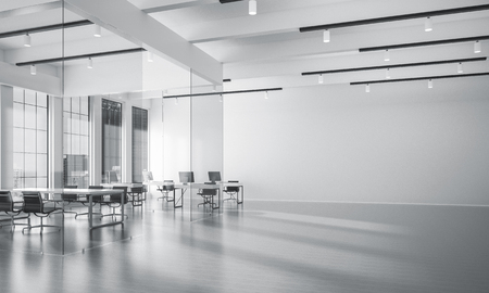 hall monitors: Modern empty elegant office with windows and workplaces. 3D rendering