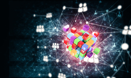 Conceptual background image with cube figure and social connection lines.