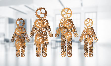 man made: Figures of man and woman made of gears and cogwheels on white office background. 3d rendering