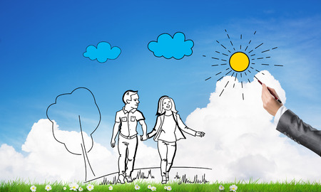 man made: Hand drawn happy family in casual clothes walking outdoors