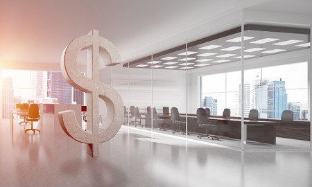 Stone dollar symbol in modern office interior as currency sign. 3d rendering Stock Photo