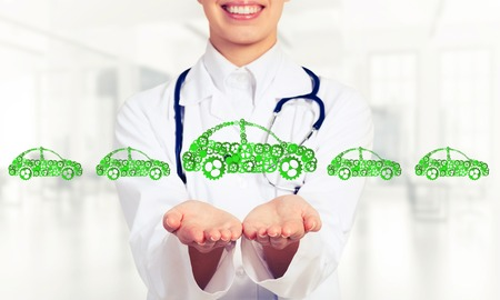 doctor money: Woman doctor presenting in palms concept of car transporation or insurance