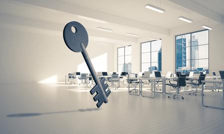 Key stone figure as symbol of access in elegant office room. 3d rendering