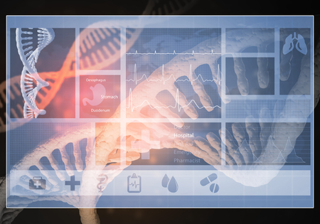Media medicine background image as DNA research concept. 3D rendering Stock Photo - 76147801