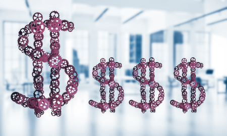 Making money and wealth represented by dollar sign made of gears. 3d rendering Stock Photo