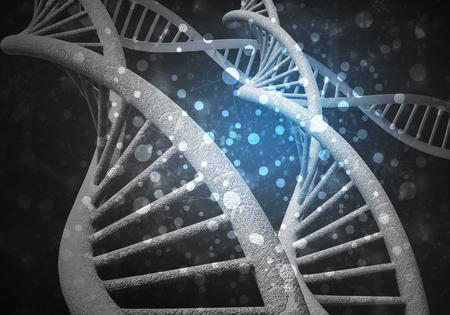 Hintergrundbild mit DNA-Molekül-Forschungskonzept. 3D-Rendering Standard-Bild - 81018863