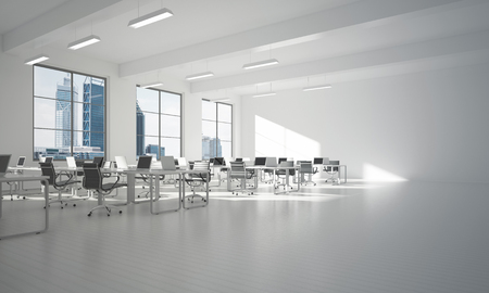 Modern empty elegant office with windows and workplaces. Mixed media Banco de Imagens